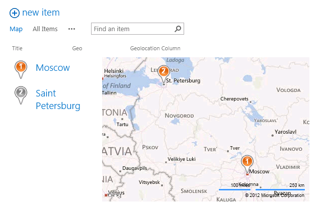 SharePoint 2013 Map View