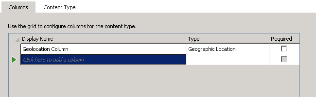 Adding geolocation column to content type in Visual Studio 2012