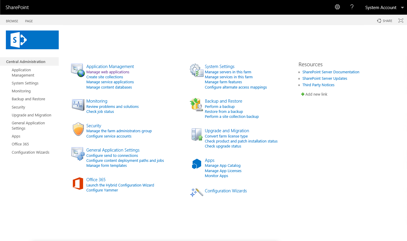 SharePoint 2019 Central Administration
