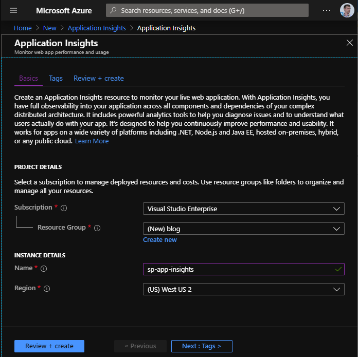 Create new Application Insights resource