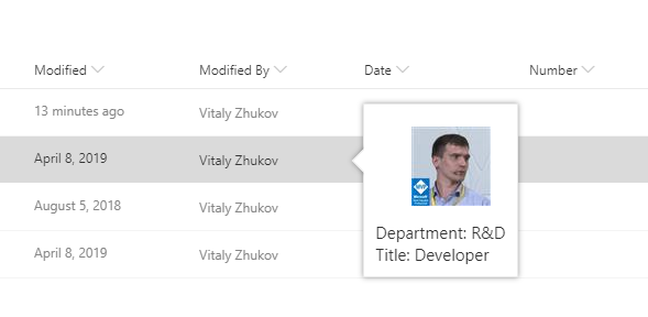 SharePoint Online. Custom Property Card
