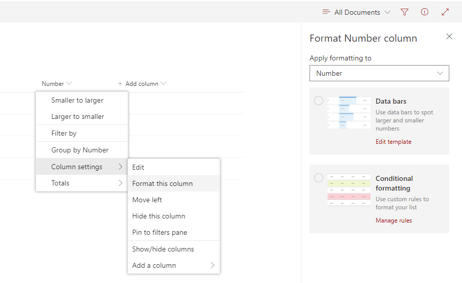 SharePoint Online. Design Mode of the column formatting